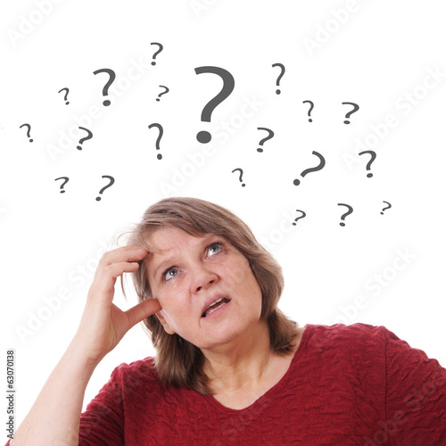 mature woman with question marks
