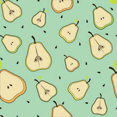 Pears with leaves bones  seamless background