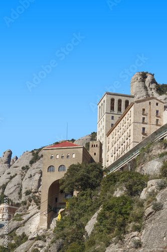 Monastery of Montserrat with blue sky