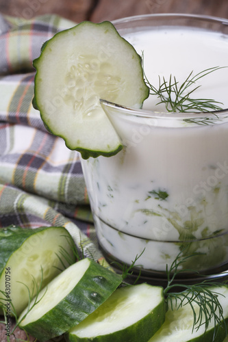 healthy kefir with cucumber and dill