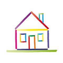 Buntes Haus mit Satteldach - vektor abstrakt