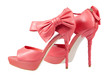 canvas print picture - Pink shoes with a bow on a high heel
