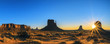 Monument Valley at sunrise, panoramic view
