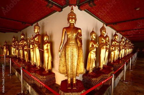 group of golden buddha statue at Wat Pho , Bangkok, Thailand