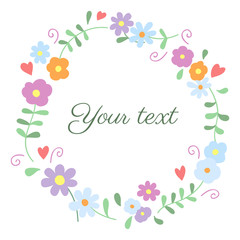 Lovely vintage round floral vector frame on white background
