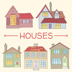 Cute hand drawn houses homes in vector