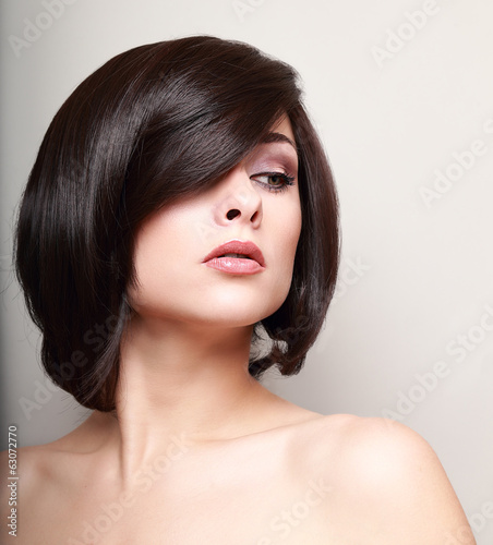 Sexy woman with short black hair. Hair style. Closeup