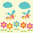 Cute baby background with bees