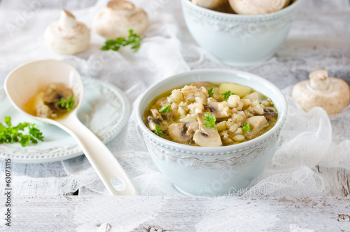 Barley soup with mushrooms