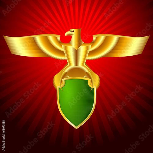 Gold metal eagle with a shield on a background; Eps8