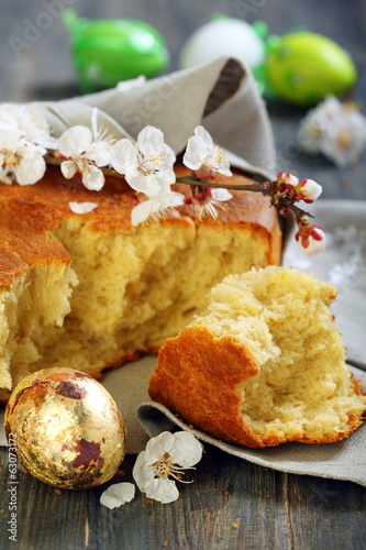 Golden egg and Italian Easter bread.