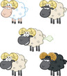 Funny Sheep Cartoon Mascot Characters 2. Vector Set