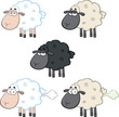 Funny Sheep Cartoon Mascot Characters 1. Collection Set