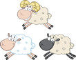 Funny Sheep Cartoon Mascot Characters 3. Collection Set
