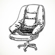 Large leather office chair vector sketch