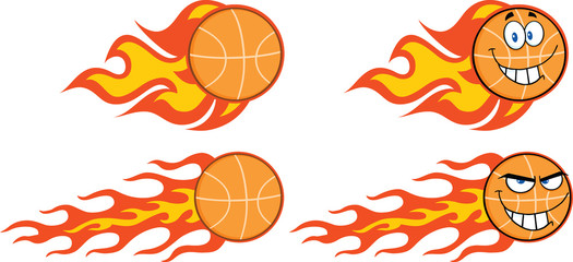 Flaming Basketball Cartoon Characters. Collection Set