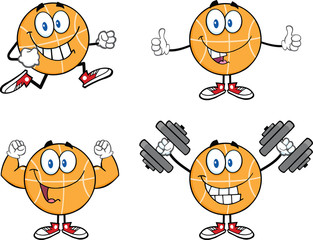 Basketball Cartoon Mascot Characters 1. Collection Set