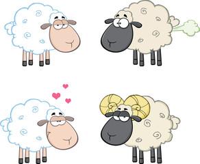 Funny Sheep Cartoon Mascot Characters 4. Collection Set