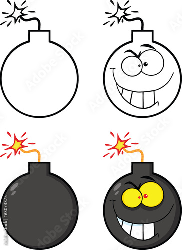 Crazy Evil Bomb Cartoon Character. Collection Set