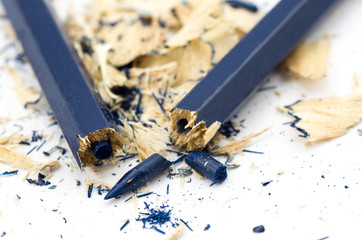 Blue broken pencil