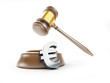 euro symbol gavel on a white background