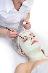 beauty salon, eyes facial mask applying