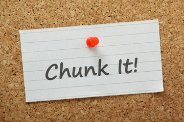 Chunk It Reminder on a cork notice board