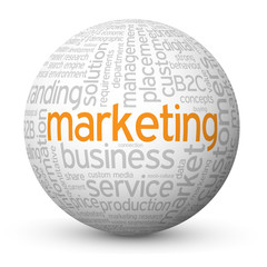 """""""MARKETING"""" Tag Cloud Globe (advertising e-mail online strategy)"""