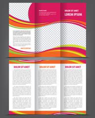 Vector trifold pink brochure print template design