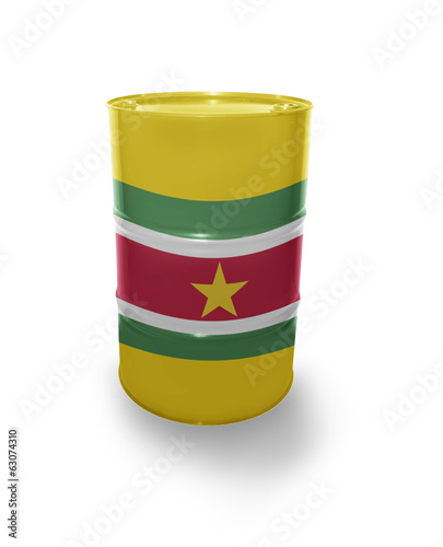 Barrel with Surinamese flag
