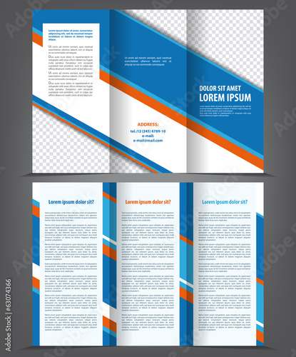 Vector empty trifold brochure print template design