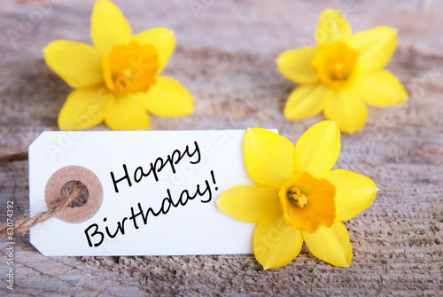 Label with happy Birthday