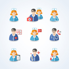 Medicine Doctors and Nurses Icons Set