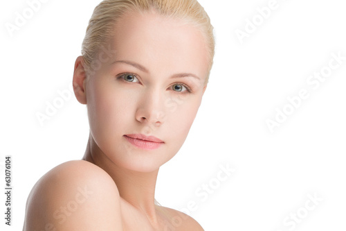 young beautiful caucasian woman, isolated on white
