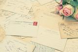 vintage postcards and soft rose flowers. nostalgia poster