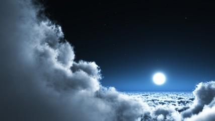 la lune dans les nuages
