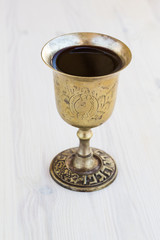Silver kiddush wine cup , judaica
