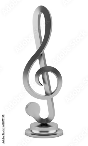 metallic treble clef statuette isolated on white background