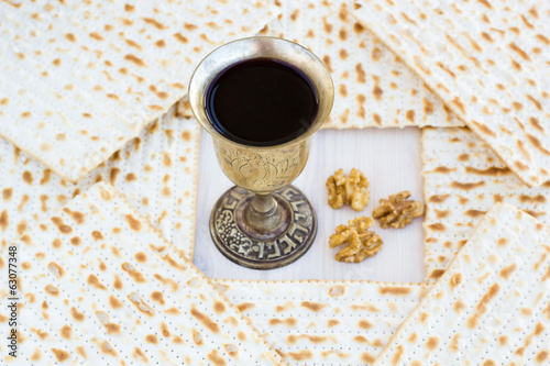 Silver kiddush wine cup  for passover with matzot, judaica