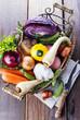 Organic healthy vegetables in the rustic basket
