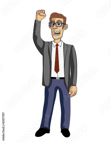Businessman success hand up