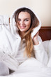 Woman in bathrobe before sleeping