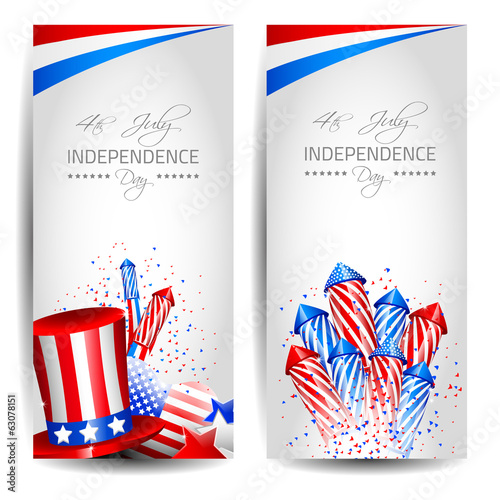 Colletion of Vector Independence Day Cards