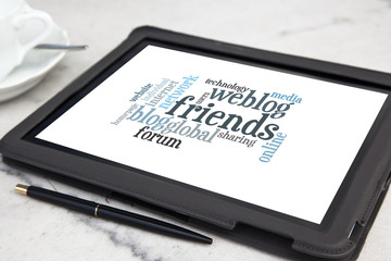 tablet with friends word cloud