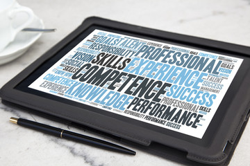 tablet with competence word cloud
