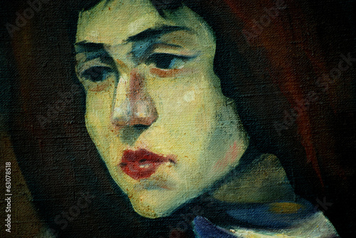 old female portrait on a rough canvas, painting, illustration