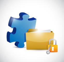 puzzle piece folder and lock illustration design