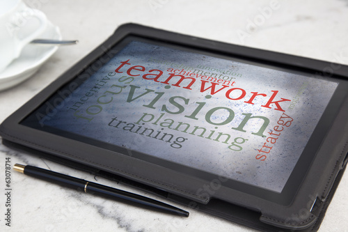 tablet with concept vision word cloud