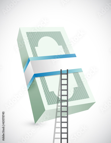 ladder to stack of bills. illustration design