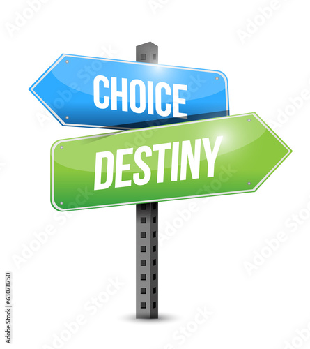 choice and destiny road sign illustration design